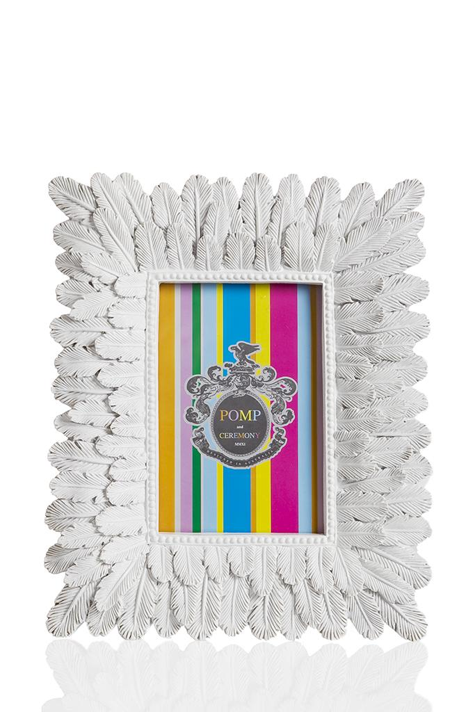 Feather Photo Frame White