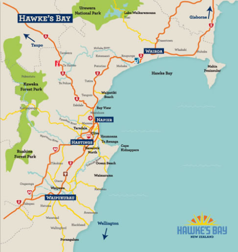 Napier New Zealand Map.Helpful Map Of Hawke S Bay Scenic Hotels
