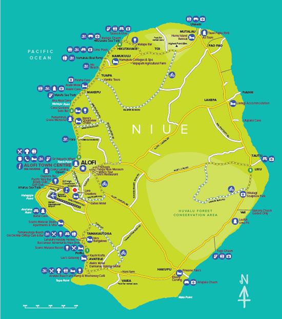 Helpful Map of Niue from Niue Tourism Scenic Matavai Resort Niue