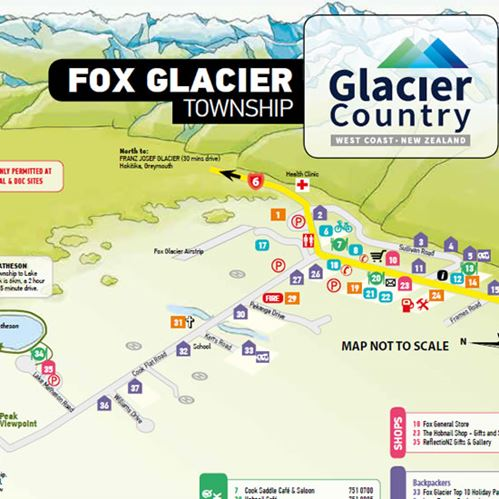 Useful map of Fox Glacier Township - from Glacier Country